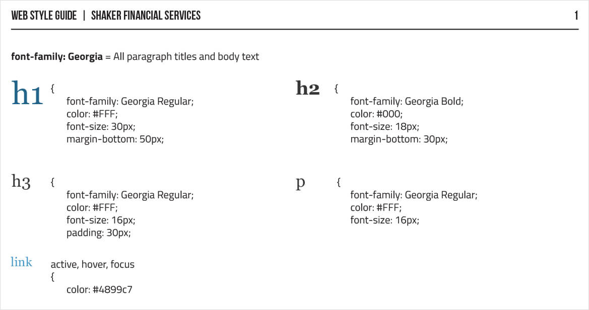 Web Style Guide Typography